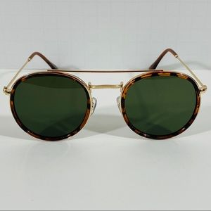 Other - Tortoise/Green Lens Round Metal Sunglasses